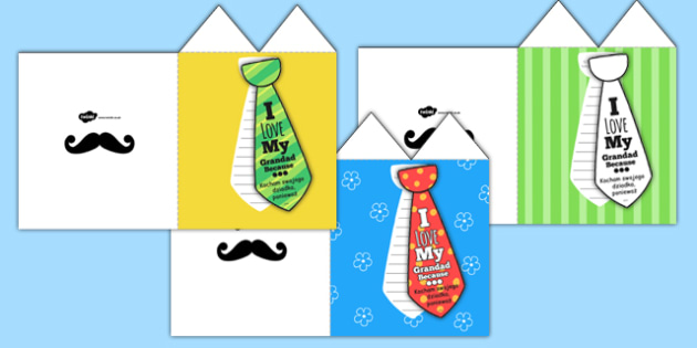 Grandad Flap Tie Card Craft Polish Translation - polish, granddad, flap tie, card, craft, flap, tie