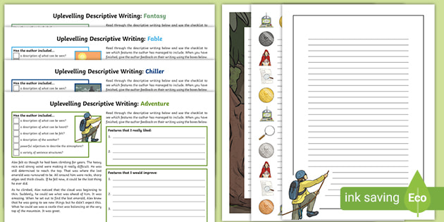 KS2 Uplevelling Descriptive Writing Extracts Worksheets