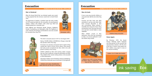 Scotland in the Second World War Evacuation Fact File- - Scotland in World War II, evacaution, evacuee, Curriculum, WW2, Second World War, history, excellenc
