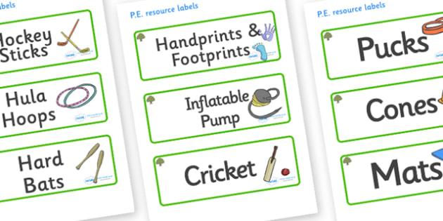 Oak Tree Themed Editable PE Resource Labels - Themed PE label, PE equipment, PE, physical education, PE cupboard, PE, physical development, quoits, cones, bats, balls, Resource Label, Editable Labels, KS1 Labels, Foundation Labels, Foundation Stage L