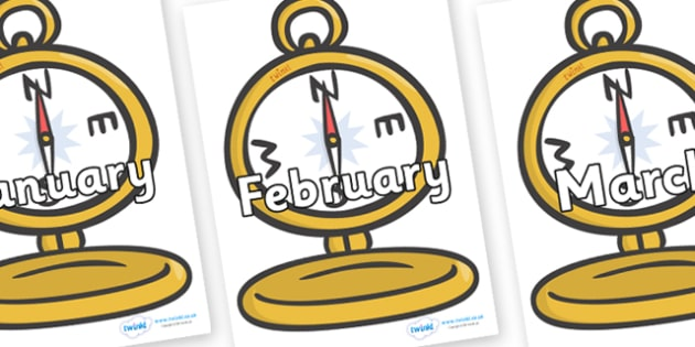Months of the Year on Pocket Watches - Months of the Year, Months poster, Months display, display, poster, frieze, Months, month, January, February, March, April, May, June, July, August, September