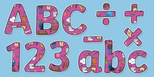 Phase 5 Themed Display Lettering Letters and Numbers Pack - English lettering, English display, English display lettering, phase 5