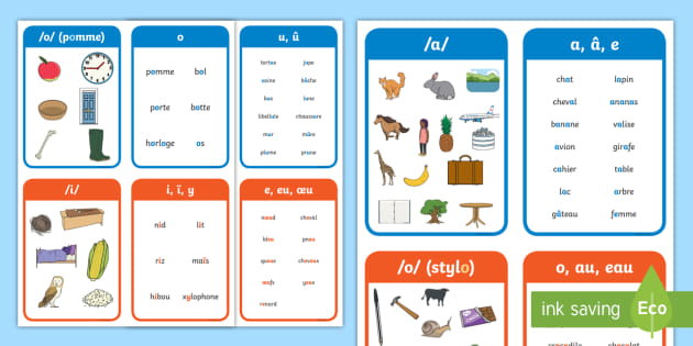 French Phonics Flashcards
