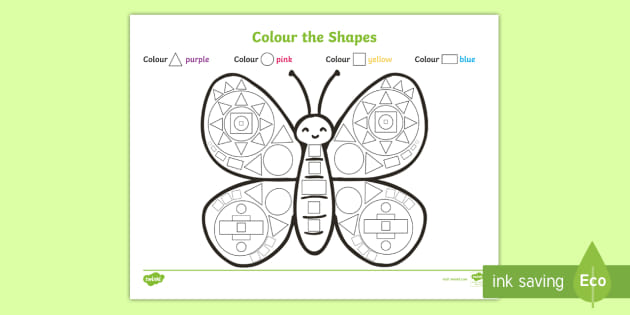 Colour the Shapes Butterfly Worksheet