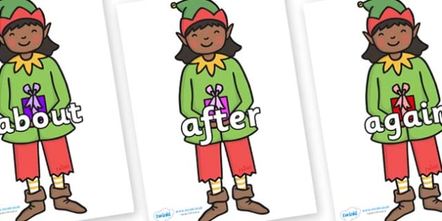 KS1 Keywords on Elves - KS1, CLL, Communication language and literacy, Display, Key words, high frequency words, foundation stage literacy, DfES Letters and Sounds, Letters and Sounds, spelling