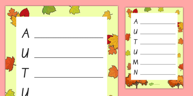 Autumn Acrostic Poem Template - nz, new zealand, autumn, autumn acrostic poem, autumn acrostic poem writing frame, weather and the seasons, seasons acrostic poem