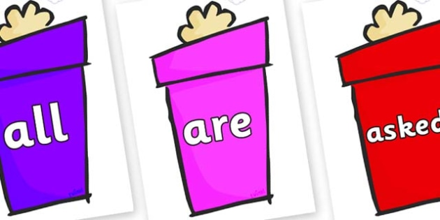 Tricky Words on Christmas Gift - Tricky words, DfES Letters and Sounds, Letters and sounds, display, words