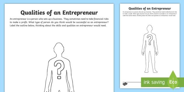 qualities of an entrepreneur worksheet activity sheet cfe enterprise financial education entrepreneur