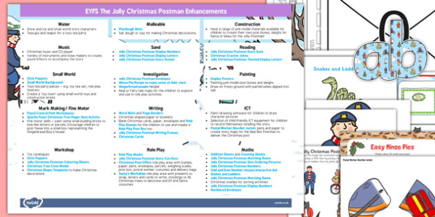 EYFS Enhancement Ideas and Resources Pack to Support Teaching on The Jolly Christmas Postman - Early Years, continuous provision, early years planning, Christmas, story, The Jolly Christmas Postman, Janet and Allan Ahlberg, planning