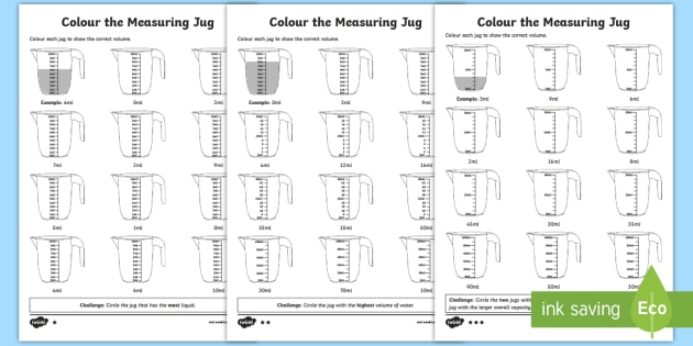 Colour The Measuring Jug Differentiated Worksheets
