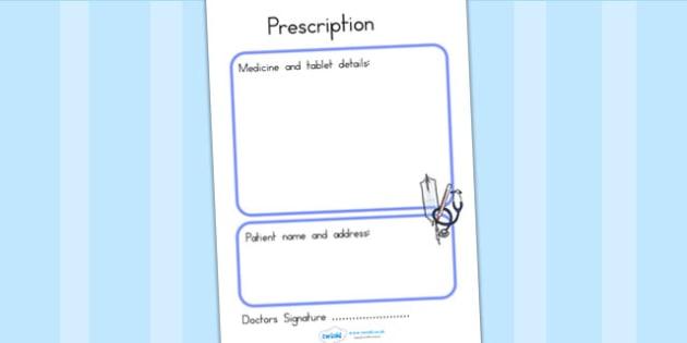 Doctors Surgery Prescription - doctors role play, props, roleplay