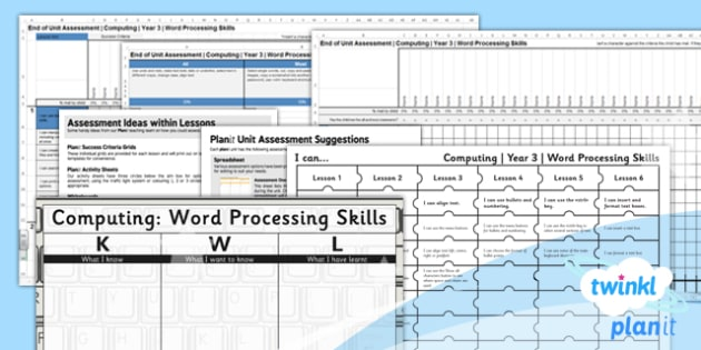 Computing: Microsoft Word Skills Year 3 Unit Assessment Pack