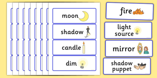 Light and Dark Topic Word Cards - Light and Dark,word card, cards, flashcards, science, day, night, shadow, reflection, reflective, bright, tint, colour, shade