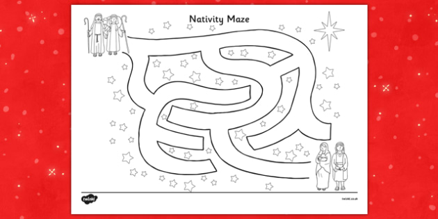 Nativity Maze Activity Sheet - nativity, maze, activity, sheet, worksheet