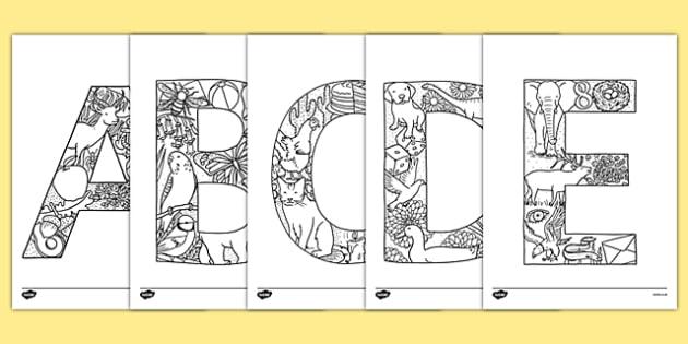 Coloriage Alphabet Francais.Coloriages Anti Stress L Alphabet En Majuscules Francais Principe