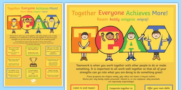 TEAM Large Motivational Poster KS2 Polish Translation - polish, motivate, inspiration poster