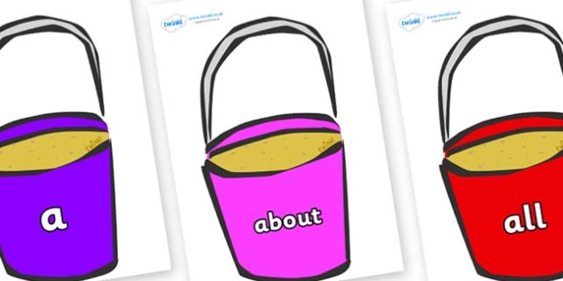100 High Frequency Words on Buckets - High frequency words, hfw, DfES Letters and Sounds, Letters and Sounds, display words