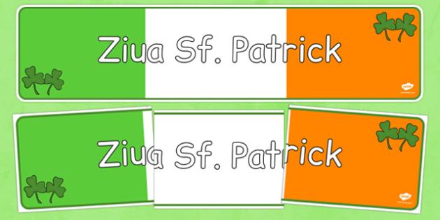 Ziua Sf. Patrick - Banner - Sfantul Patrick, Sf, Patrick, banner, Irlanda, spiriduș, protectorul, religie, materiale didactice, română, romana, material, material
