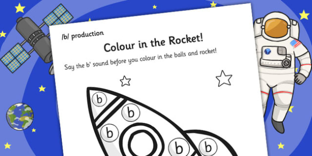 b Sound Production Rocket Colouring Sheet - colouring, sounds, b