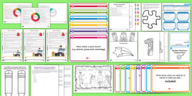 CfE First Level First Week Back at School Resource Pack - Back to school, new class, new school year, getting to know you, First Days,Scottish