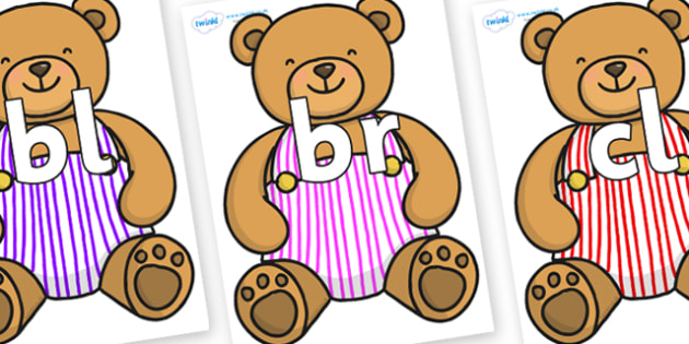 Initial Letter Blends on Dungaree Teddy - Initial Letters, initial letter, letter blend, letter blends, consonant, consonants, digraph, trigraph, literacy, alphabet, letters, foundation stage literacy