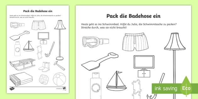 Pack die Badehose ein Arbeitsblatt - Sommer, Jahreszeiten