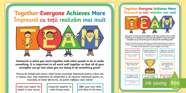TEAM Large Motivational Display Poster Romanian/English - motivate, inspiration poster, team, together EAL