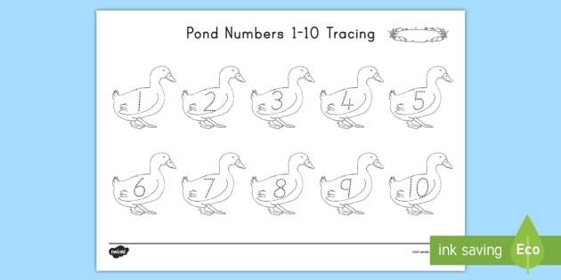 Pond Numbers 1-10 Tracing Worksheet / Worksheet