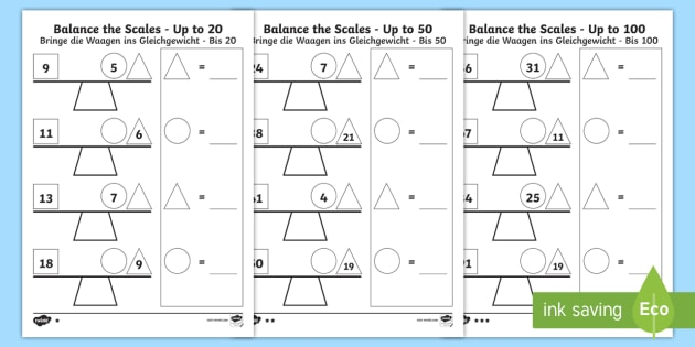 Balance the Scales Differentiated Activity Sheets English/German - measure, weigh, Addition, subtraction, balance, EAL, German, English-German,,German-translation