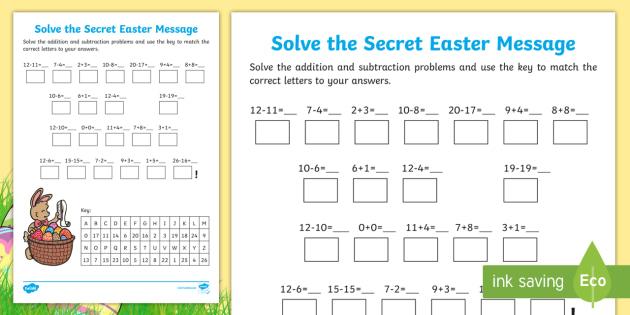 Easter Addition and Subtraction Secret Message Worksheet ...
