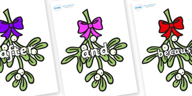 Connectives on Mistletoe (Bells) - Connectives, VCOP, connective resources, connectives display words, connective displays