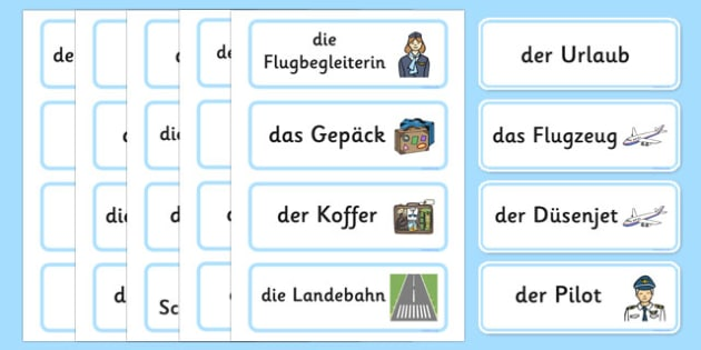 Holiday Travel Topic Words German - german, Holidays, word card, flashcards, labels, holiday, travel, role play, display poster, poster, sign, holidays, agent, booking, plane, flight, hotel