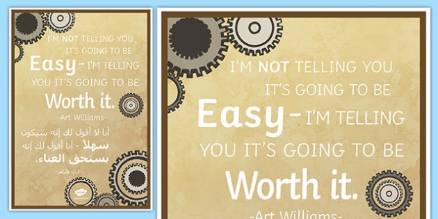 I'm Not Telling You Its Going To Be Easy Motivational Poster Arabic Translation-Arabic-translation