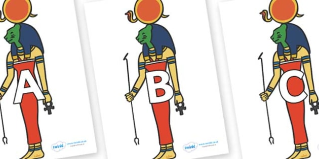 A-Z Alphabet on Egyptian Icons - A-Z, A4, display, Alphabet frieze, Display letters, Letter posters, A-Z letters, Alphabet flashcards