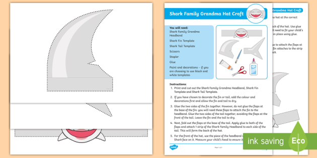 Shark Family Grandma Hat Craft Instructions Pack Baby Shark Pink Fong