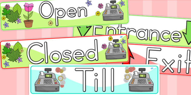 Open Closed Role Play Signs - sign, displays, display, banner
