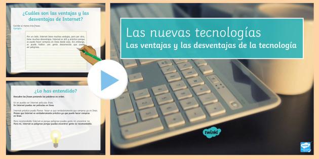 New Technologies Advantages and Disadvantages of the Internet PowerPoint Spanish - KS4, Spanish, New Technologies, everyday, life, ordenador, movil, teléfono, tableta, portatil, vide