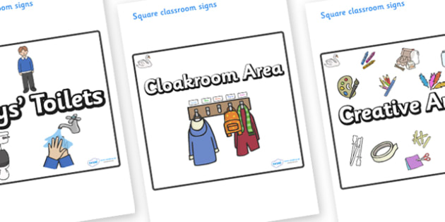 Swan Themed Editable Square Classroom Area Signs (Plain) - Themed Classroom Area Signs, KS1, Banner, Foundation Stage Area Signs, Classroom labels, Area labels, Area Signs, Classroom Areas, Poster, Display, Areas