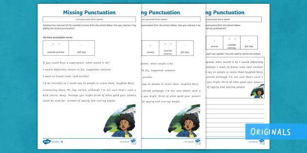 KS2 Superhero Story Direct Speech Punctuation Differentiated Worksheet /