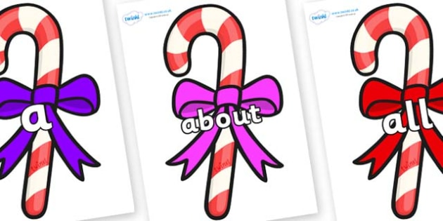 100 High Frequency Words on Candy Canes (Bows) - High frequency words, hfw, DfES Letters and Sounds, Letters and Sounds, display words