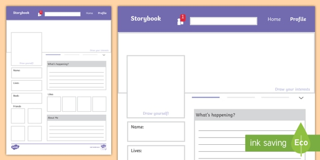 New Character Social Media Writing Template World Book Day Reading