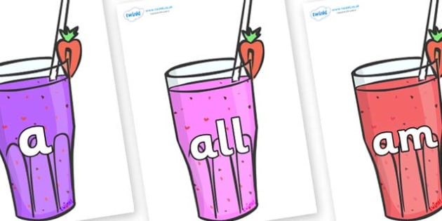 Foundation Stage 2 Keywords on Smoothies - FS2, CLL, keywords, Communication language and literacy,  Display, Key words, high frequency words, foundation stage literacy, DfES Letters and Sounds, Letters and Sounds, spelling