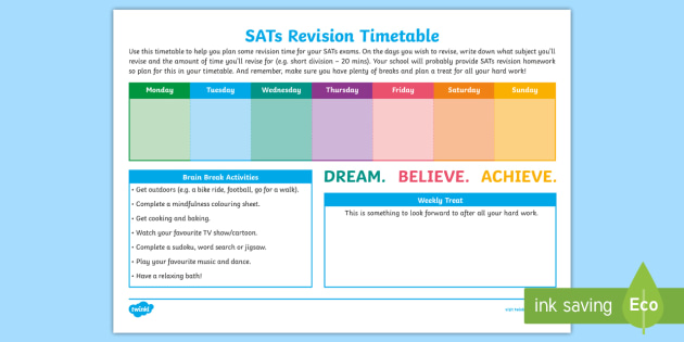 NEW Weekly SATs Revision Timetable Maths Tests SPaG