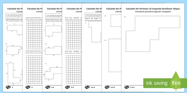 Year 5 Calculate the Perimeter of Composite Rectilinear Shapes Differentiated Worksheet / Activity Sheets Romanian Translation-Romanian-translation - Year 5, Y5, perimeter, composite rectilinear shapes., Romanian-translation