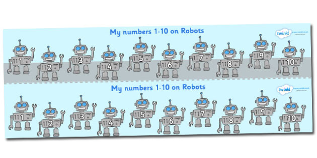 1-10 on Robots Number Strips - Maths, Math, number track, robot, Numberline, Number line, Counting on, Counting back, counting, robots
