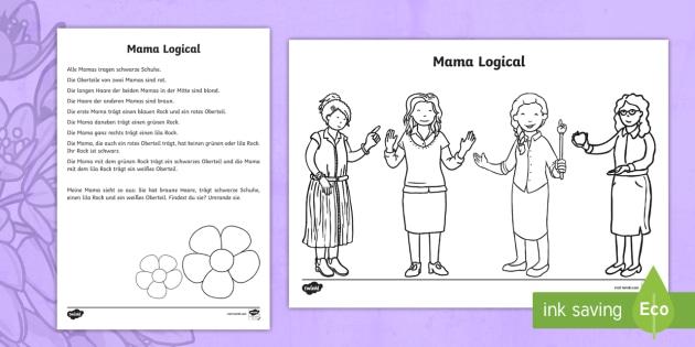 Meine Mama Logical Arbeitsblatt: Lesen und Malen - Muttertag