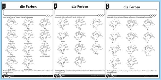 colours worksheet activity sheet german colour germany de. Black Bedroom Furniture Sets. Home Design Ideas