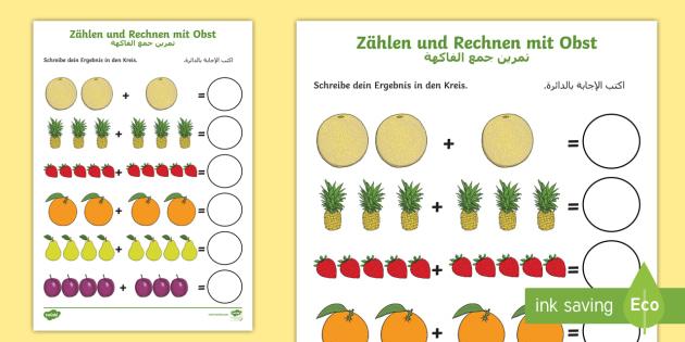 free deutsch arabische z hlen und rechnen mit obst arbeitsblatt erstes. Black Bedroom Furniture Sets. Home Design Ideas
