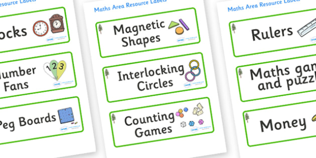 Pine Tree Themed Editable Maths Area Resource Labels - Themed maths resource labels, maths area resources, Label template, Resource Label, Name Labels, Editable Labels, Drawer Labels, KS1 Labels, Foundation Labels, Foundation Stage Labels, Teaching L