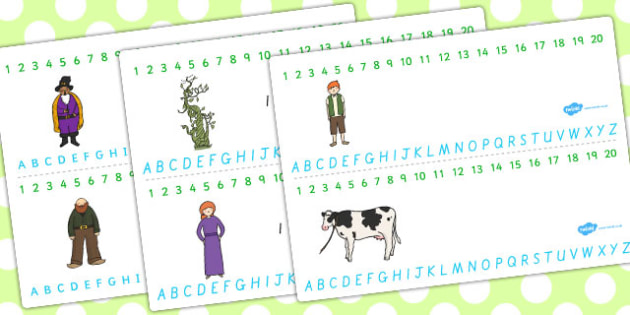 Jack and the Beanstalk Combined Number and Alphabet Strips - jack